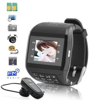 Dual SIM 1.5'' Touchscreen Watch Cellphone with Keypad + Wireless Transmission
